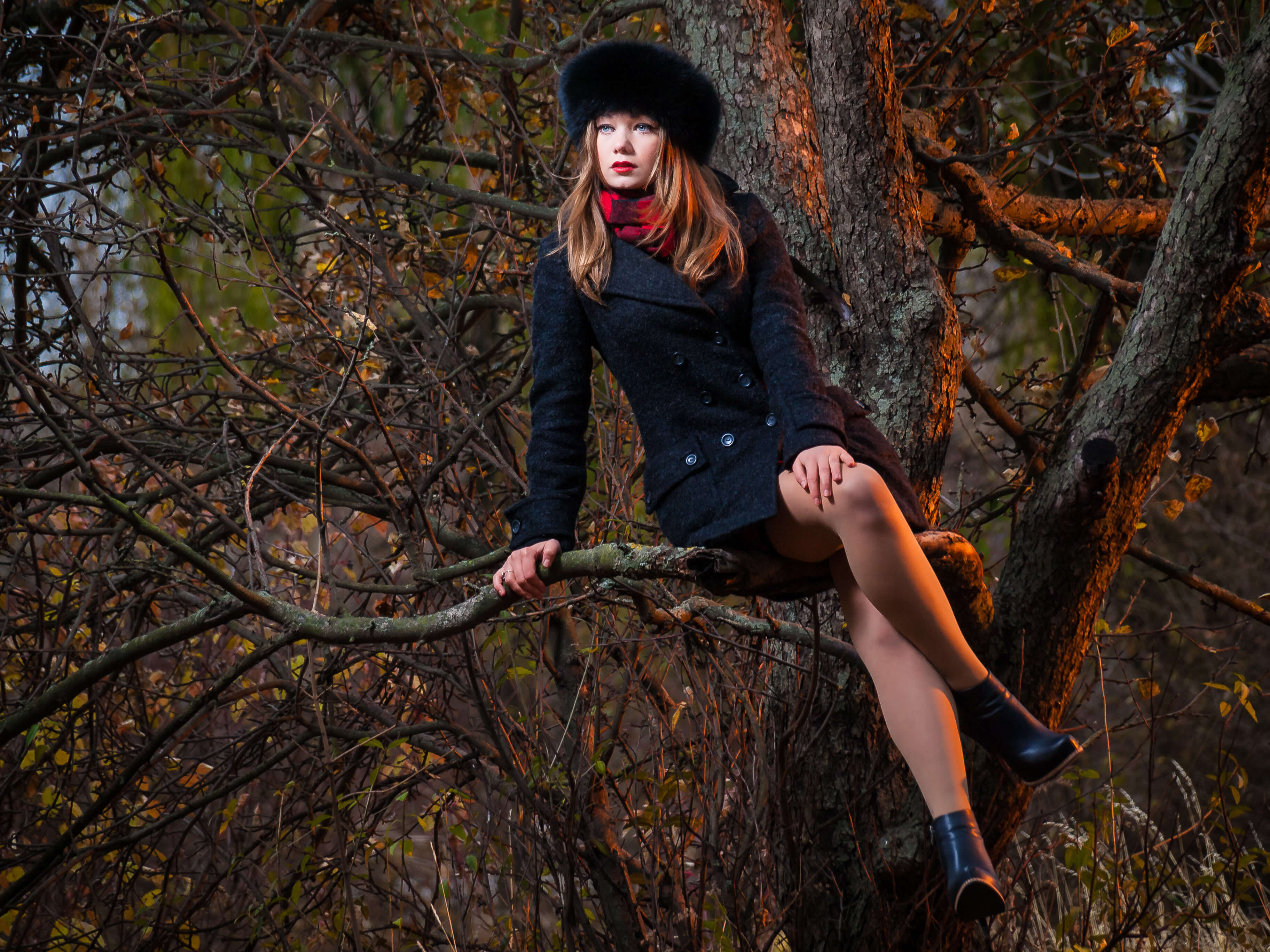 Commercial fashion photography full growth frame model girl trees autumn forest branches boots beauty commercial photo coat this photo made by Fantastic Imago Branding, Advertising and Consulting Agency
